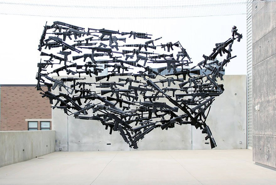 Line Art Usa Map : Gun map of usa consisting toy guns