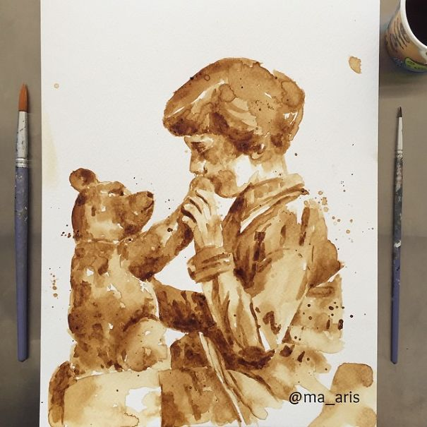 paintings made of coffee