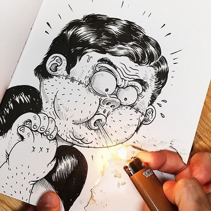 funny drawings fight